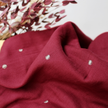 Tissu Stardust Amarante